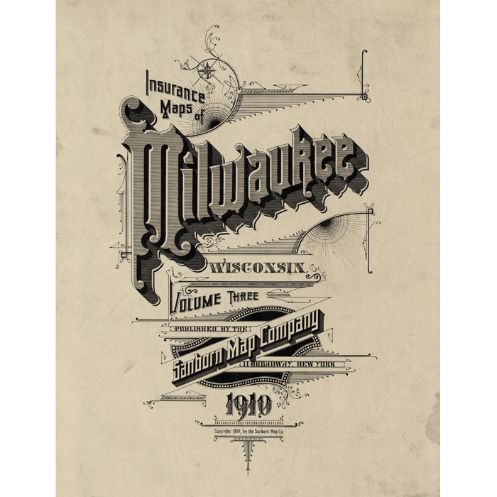 Milwaukee WI In Vintage Caligraphy Lettering Art Framed - Vintage milwaukee map