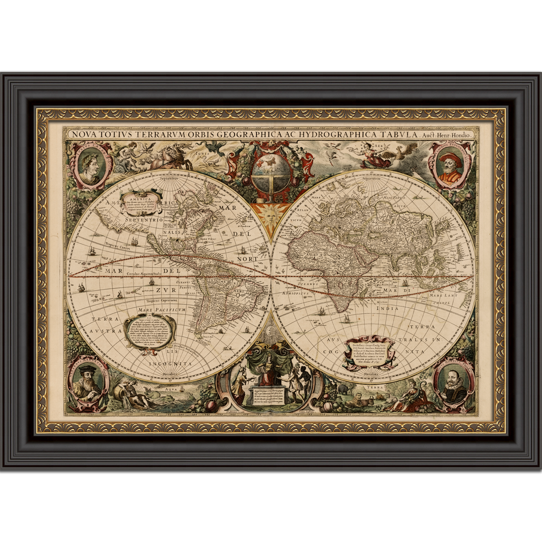 world map nova totius 1641 framed